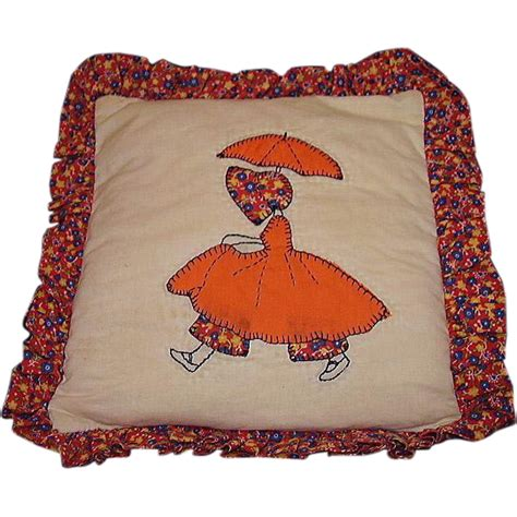 girl  parasol quilt pattern pillow handmade applique