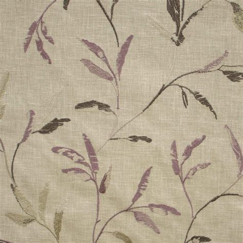leaf pattern upholstery fabric uk norella mauve embroidered leaf curtain fabric closs
