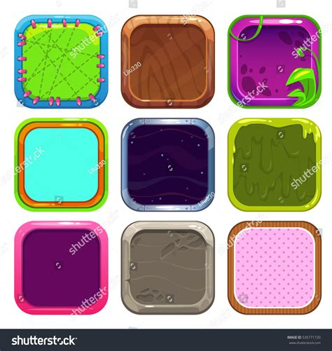 pattern frame app funny cartoon square frames app icons stock vector