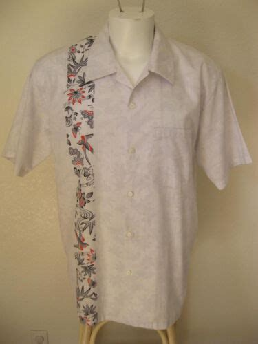 rare mens rockabilly  white  bowling shirt  panel bird floral hipster usd