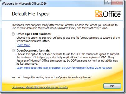microsoft word xml format document file office 2010 offers choice of open document or microsoft