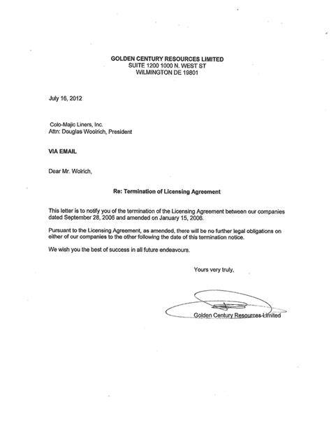 letter of termination template letter of termination
