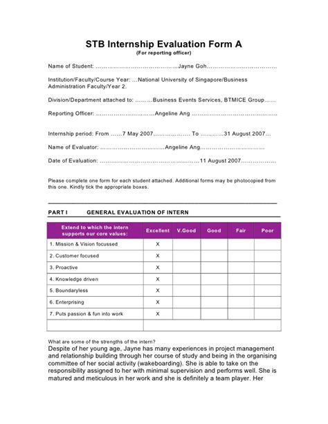 Intern Evaluation Template internship evaluation form