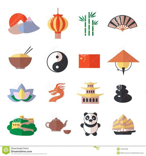 new year symbols and customs china icons set stock vector illustration of architecture