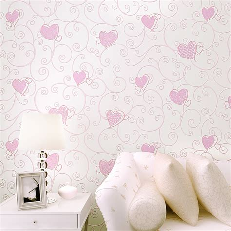 heart bedroom wallpaper eco friendly child room wallpaper pink love non woven