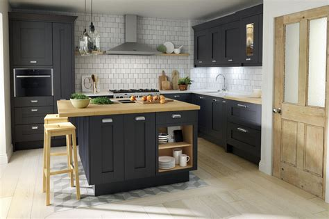 Almond Kitchen Cabinets Classic Shaker Milbourne Door In A Bold Charcoal
