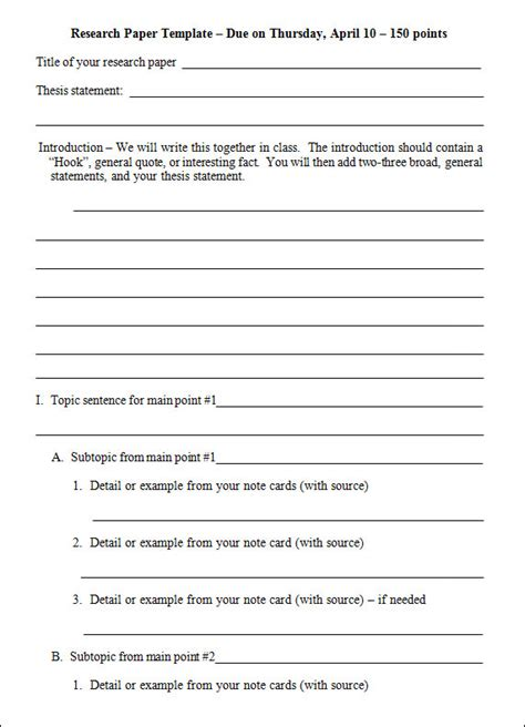 template for outline for research paper