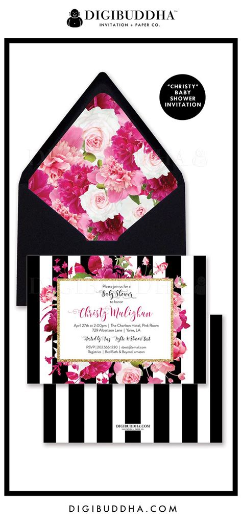 Pink Black And White Baby Shower Invitations by Baby Shower Invitation Quot Quot Style With A Gorgeous