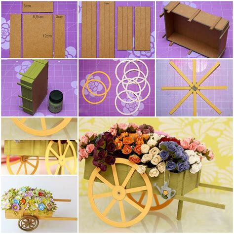diy  cardboard wagon carrying flowers decoration
