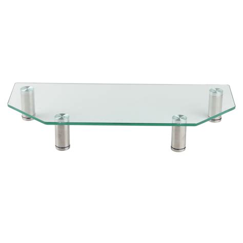 monitor stand cl on glass clear glass corner monitor mount computer small tv screen