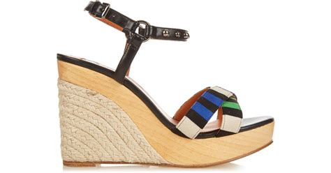 Erotokritos Blue And White Stripe Wedge by Lanvin Striped Espadrille Wedges In Blue Lyst