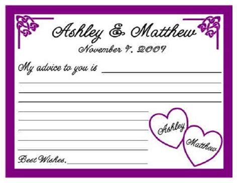 bridal shower advice cards template bridal shower advice card template images
