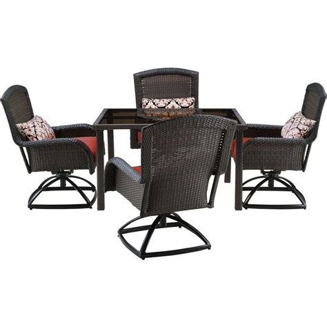Patio Dining Sets For 4 Hanover Strathmere 5 All Weather Wicker Square Patio Dining Set With Four Swivel Chairs