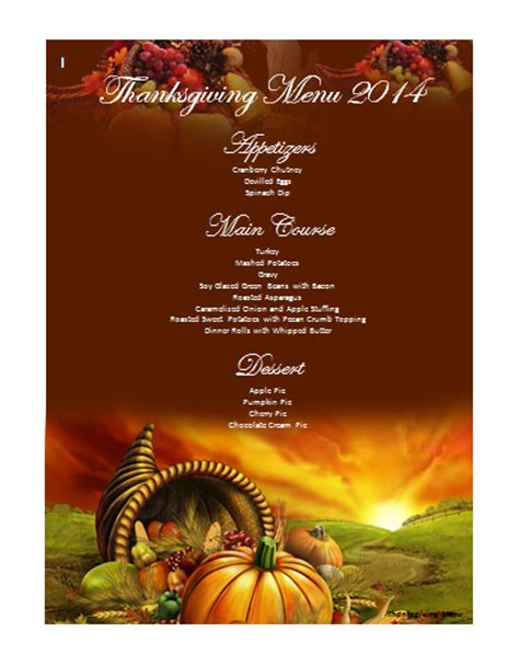 thanksgiving templates thanksgiving menu template word images