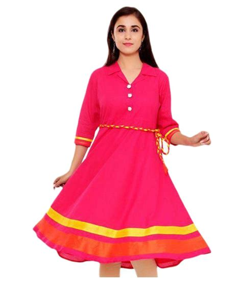 pink price mada pink cotton anarkali kurti available at snapdeal for