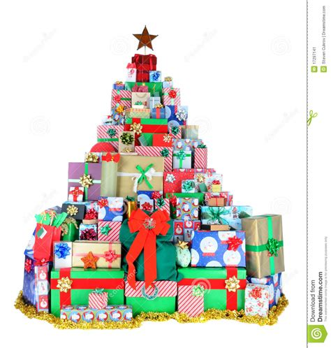 christmas tree of presents stock image image of white