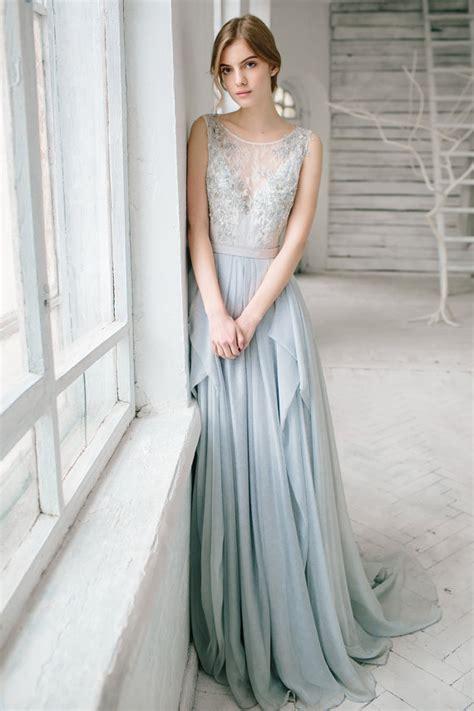 Silver Wedding Dresses by Silver Grey Wedding Dress Lobelia Silk Bridal Gown Open