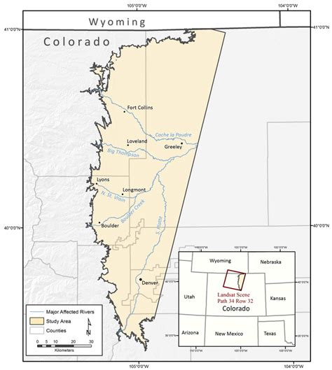 map of colorado front range map of the colorado front range and the project study site