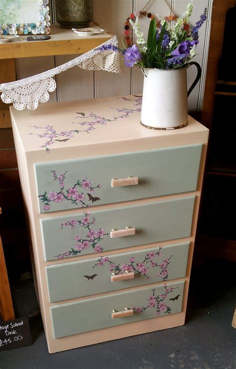Decoupage Chest Of Drawers - decoupage chest of drawers in and green with