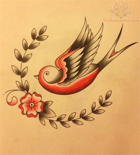 small swallow tattoo designs small flower and design