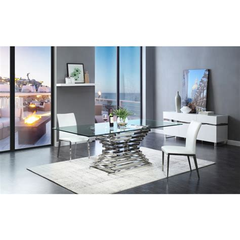 modern glass dining room table modrest crawford modern rectangular glass dining table