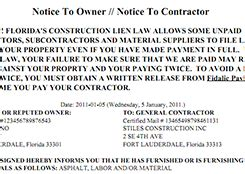 Sle Lien Forms Preview Preliendepot Com Notice To Owner Florida Template
