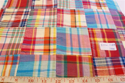 Patchwork Madras - patchwork madras fabric plaid fabric linen fabric