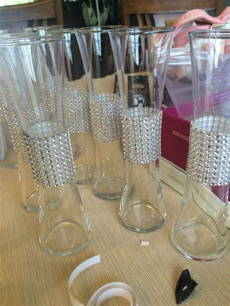 Dollar Store Vases Jazzed Up Centerpieces Pinterest Dollar Store Wedding Centerpieces