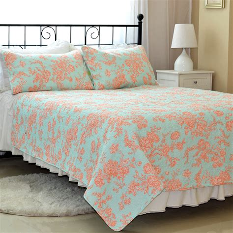 mint green and orange floral coverlet set 3 pcs cotton