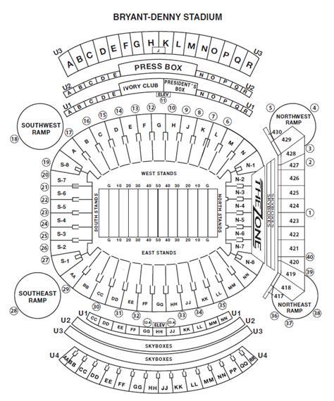 alabama football stadium seating chart seating chart bryant denny stadium crimson tide football