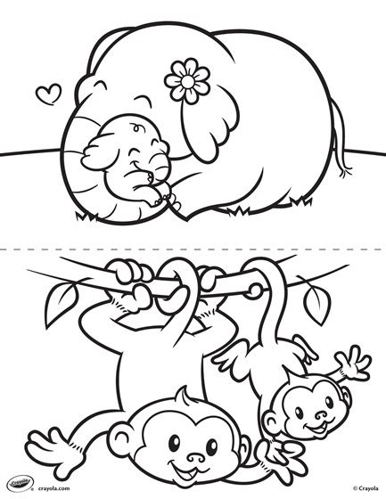 monkey coloring pages for preschool first pages elephant and monkey coloring page crayola com