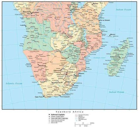 southern africa map  countries cities  roads