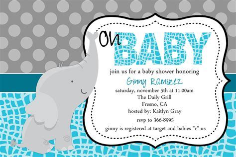 Baby Elephant Baby Shower Invitations   THERUNTIME.COM