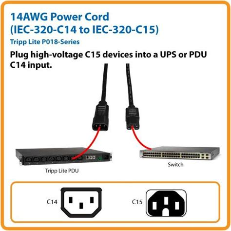 6ft 18 awg computer power extension cord iec320 c13 to iec320 c14 blue tripp lite 3ft heavy duty computer power extension cord 15a 14 awg c14 to c15
