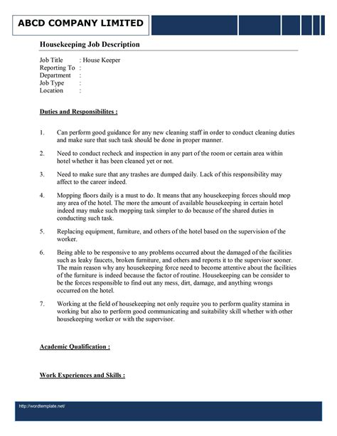 Cover Letter Resume And Job Description Templates For Housekeeper Cleaning Duties Template