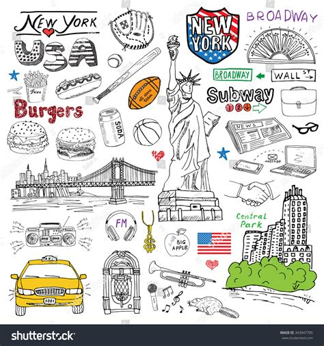 doodle new new york city doodles elements set with taxi