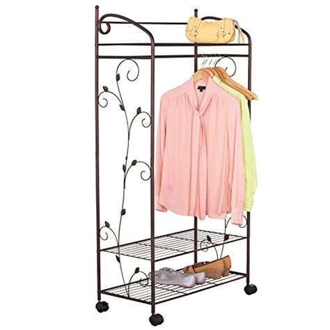garment rack with shelves metal scroll garment rack with shelves brown