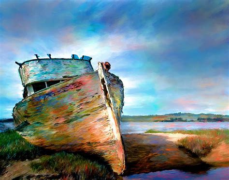 Landscape Boat Abandoned Boat Landscape Painting Painting By Andres Ramos