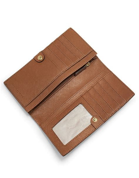 Dompet Michael Kors Slim Wallet michael michael kors signature saffiano leather large slim wallet in brown lyst