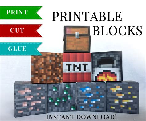 Minecraft Papercraft Review - minecraft printable papercraft blocks set 4 minecraft