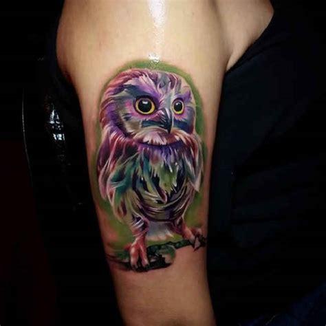 owl jewel tattoo purple owl tattoo upper arm ideas tattoo designs