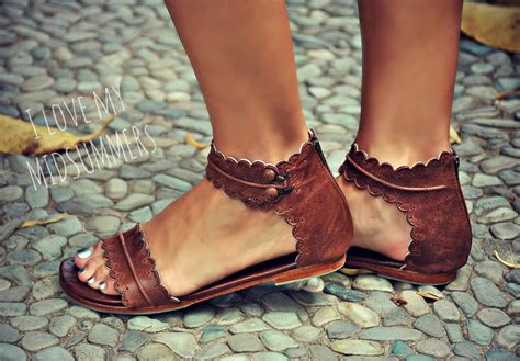 MIDSUMMER. Brown leather sandals / women shoes / leather shoes