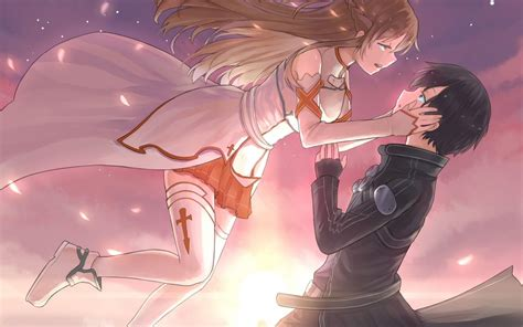 anime couple at sunset two anime couple at sunset hd desktop wallpaper