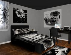 classic rock bedroom showcasing a black and white bold bedroom style featuring a classic cars and rock and