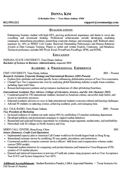 College Resume Objective Exles by College Student Resume Exle Business And Marketing