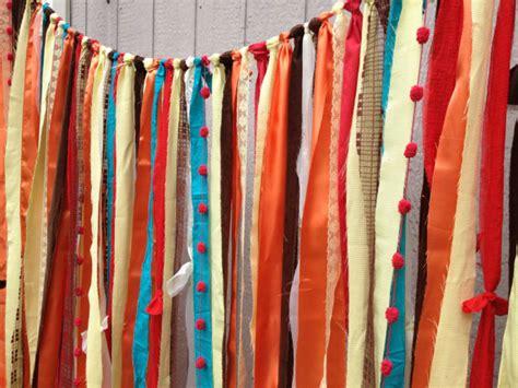 rustic orange curtains rustic orange red yellow fabric wedding garland by ohmycharley
