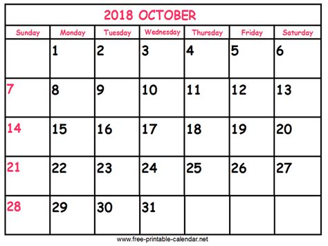 printable calendar october 2018 print calendar 2018 october