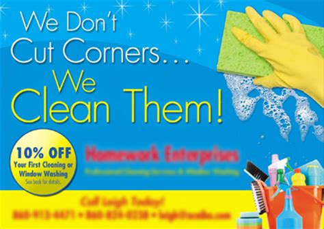 cleaning services postcards for homework enterprises