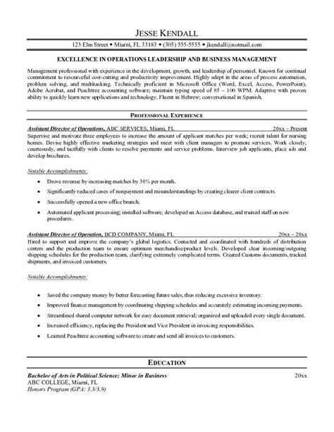 director of operations resume sles sle resume sales operations manager