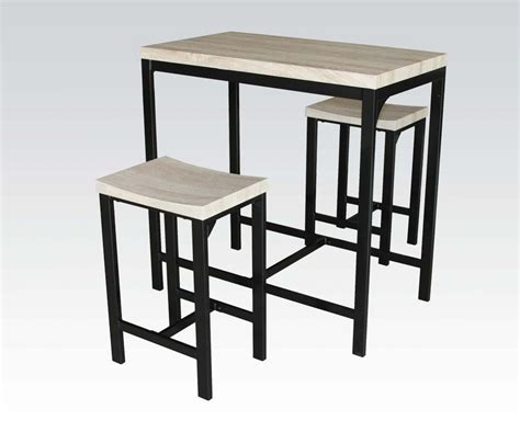 3pc birch black finish counter height dining table set
